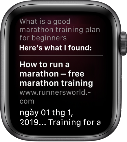 "Siri đang trả lời câu hỏi: ""What is a good marathon training plan for beginners"" với một câu trả lời từ."