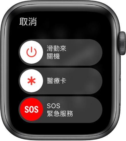 AppleWatch 畫面顯示三個滑桿:「關機」、「醫療卡」和「SOS 緊急服務」。