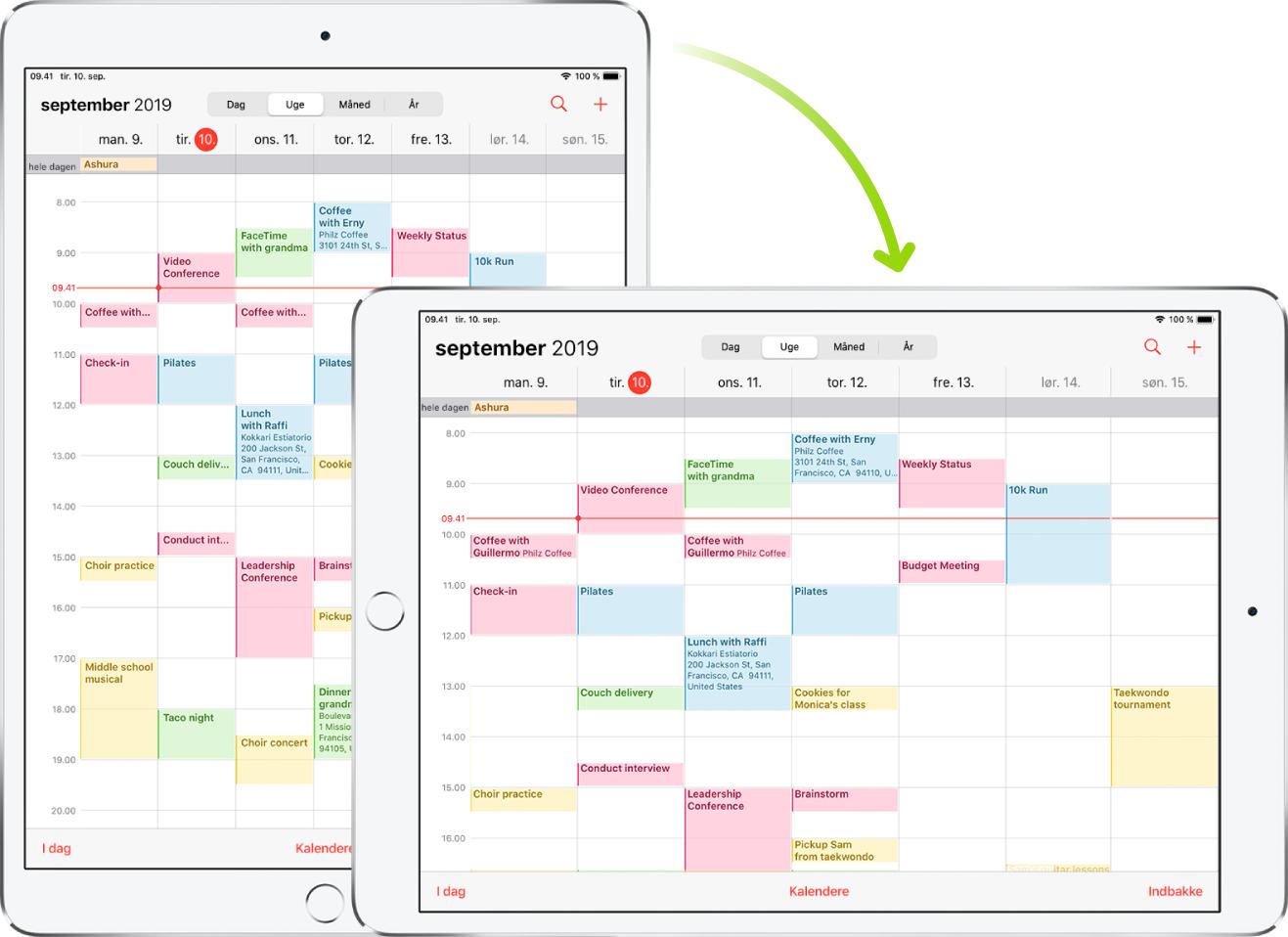 I baggrunden viser iPad en skærm i Kalender i stående retning. I forgrunden er iPad vendt på siden og viser Kalender-skærmen i liggende retning.