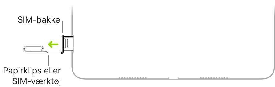 Før en papirclips eller et værktøj til SIM-kort ind i det lille hul i SIM-bakken på højre side af iPad.