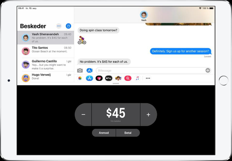 En iMessage-samtale med ApplePay-appen åben nederst.