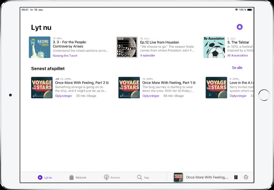 Fanen Bibliotek, der viser episoder, som er opdateret for nylig.