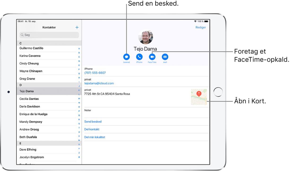 Skærmen Kontakter vises åbnet med listen Kontakter til venstre og det valgte kontaktkort til højre. Under kontaktens foto og navn findes de knapper, der bruges til at sende en besked, foretage et telefonopkald, foretage et FaceTime-opkald, sende en e-mailbesked og sende penge med Apple Pay. Under knapperne findes kontaktoplysningerne.