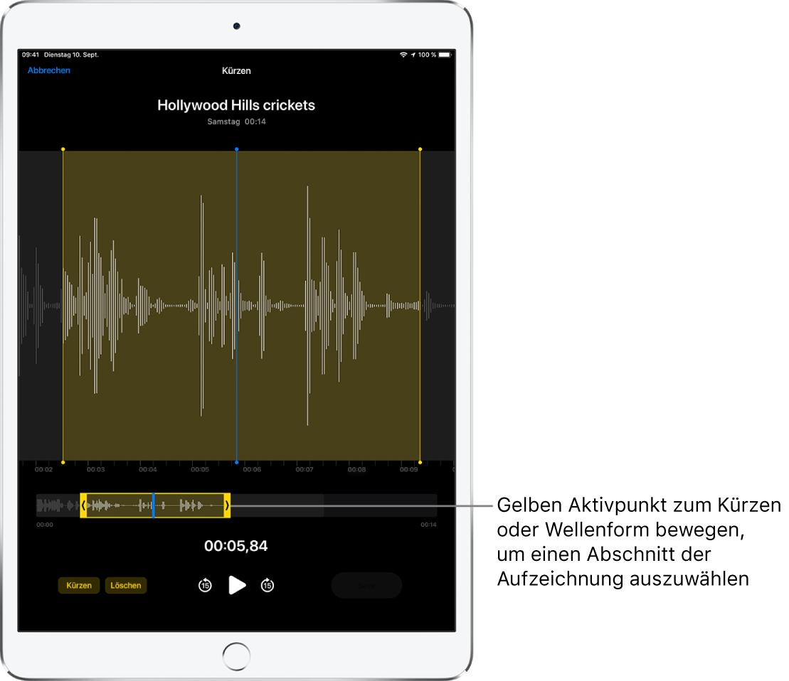 Unten auf dem Bildschirm sind die zu kürzende Aufnahme und die beiden gelben Aktivpunkte zu sehen, die einen Teil der Audiowellenform begrenzen. Unter der Wellenform und den Aktivpunkten befinden sich die Wiedergabetaste und ein Timer für die Aufnahme.
