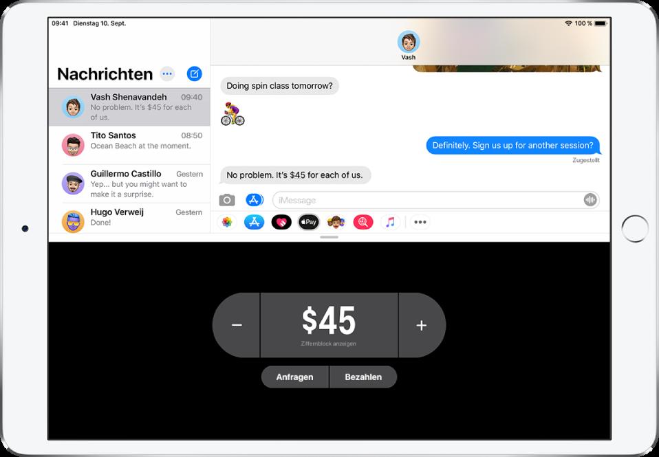 """Eine iMessage-Konversation mit der geöffneten App """"ApplePay"""" unten."""