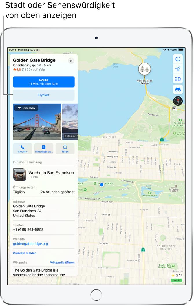 """Eine Karte von San Francisco. Links auf dem Bildschirm befindet sich eine Informationskarte für die Golden Gate Bridge mit einer Taste """"Flyover"""" unter der Taste """"Route""""."""
