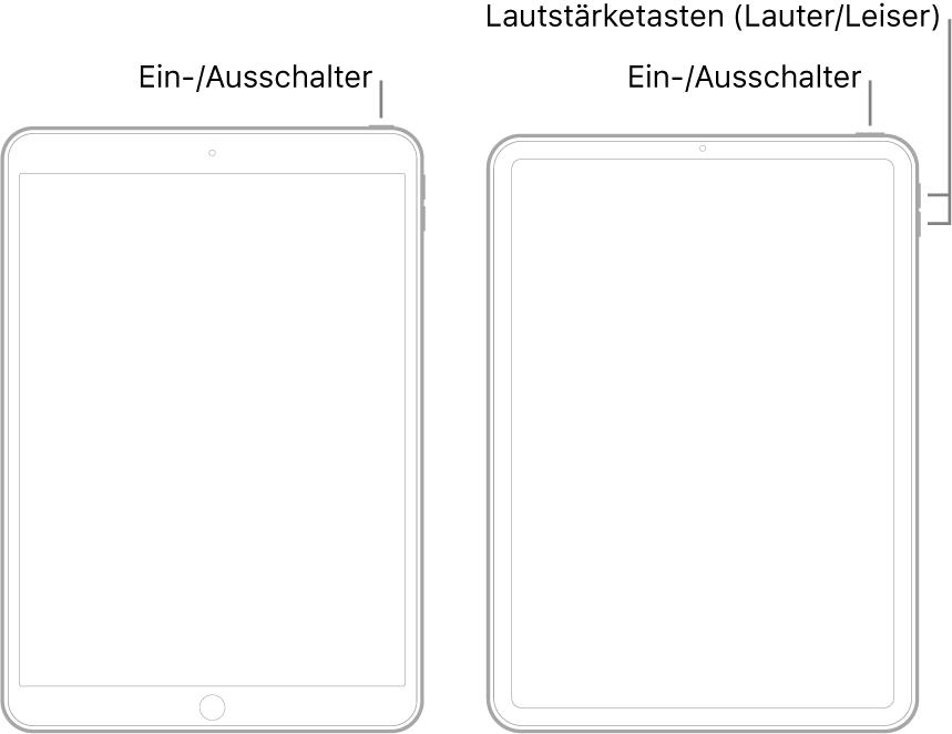 """Abbildung der Vorderseite von zwei verschiedenen iPad-Modellen. Die linke Abbildung zeigt ein Modell mit Home-Taste unten am Gerät und mit einer oberen Taste, die sich rechts an der Geräteoberseite befindet. Die rechte Abbildung zeigt ein Modell ohne Home-Taste. Bei diesem Gerät befinden sich die Lautstärketasten """"Lauter"""" und """"Leiser"""" an der rechten Geräteseite. Die obere Taste befindet sich rechts an der Geräteoberseite."""
