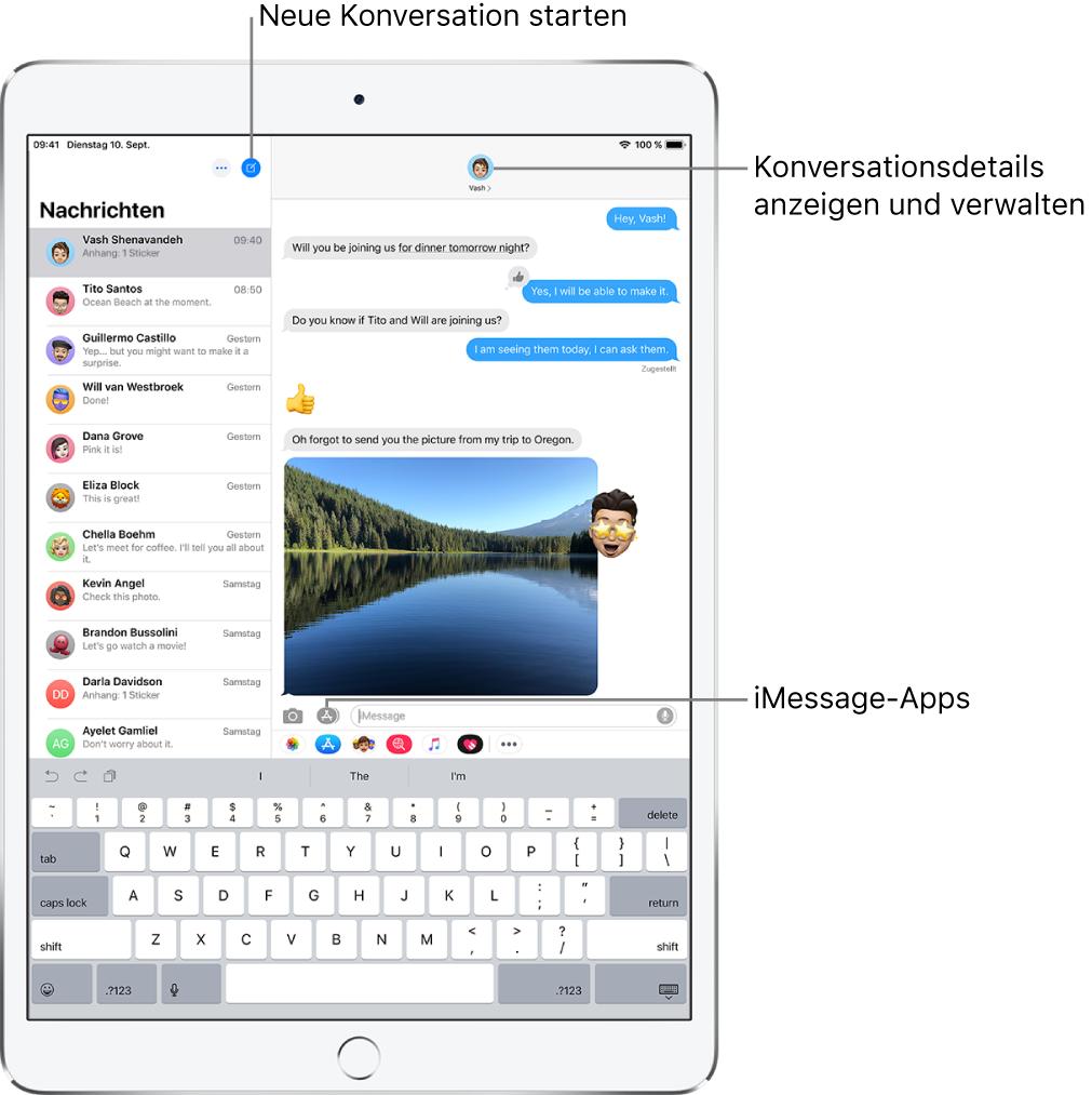 """Die Nachrichtenliste auf der linken Seite und eine Konversation auf der rechten Seite. Oben in der Nachrichtenliste bzw. in der linken oder rechten Ecke befinden sich die Tasten """"Bearbeiten"""" und """"Erstellen"""". Oben rechts im Fenster mit der Konversation befindet sich die Taste """"Weitere Infos"""". Unten im Fenster mit der Konversation befinden sich von links nach rechts folgende Tasten: """"Medien anhängen"""", """"Digital Touch"""" und """"Nachrichten-Apps"""", das Textfeld und die Taste """"Audio aufnehmen""""."""