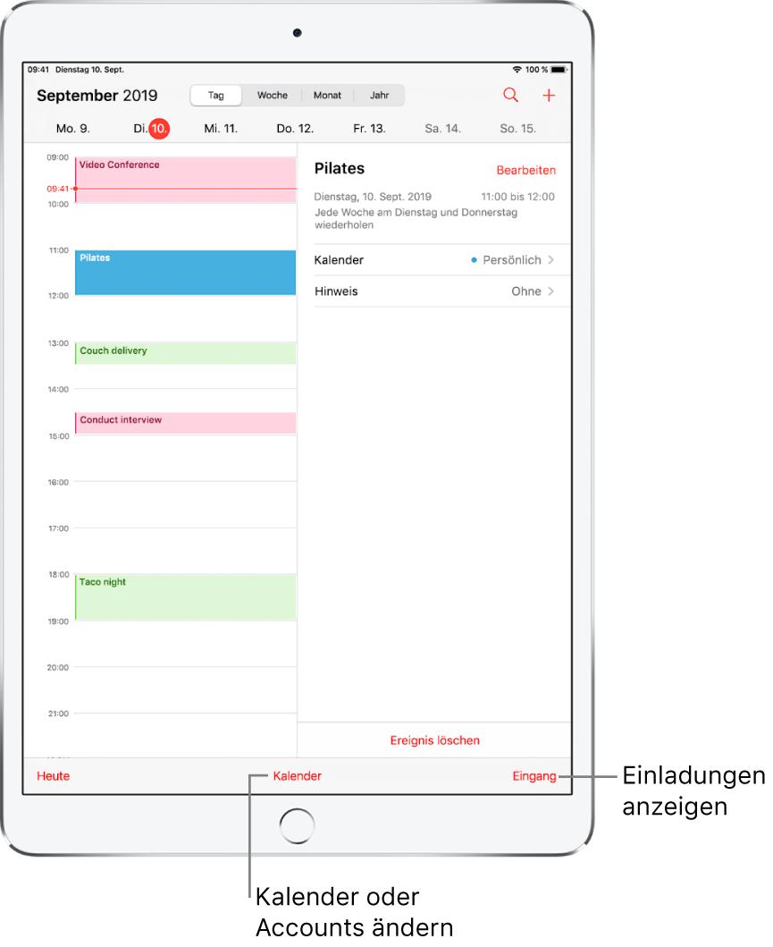 """Ein Kalender in der Tagesansicht. Tippe auf die Tasten oben, um zwischen der Tages-, Wochen-, Monats- und Jahresansicht zu wechseln. Tippe unten auf """"Kalender"""", um zu einem anderen Kalender oder Account zu wechseln. Tippe unten rechts auf die Taste """"Eingang"""", um Einladungen anzuzeigen."""