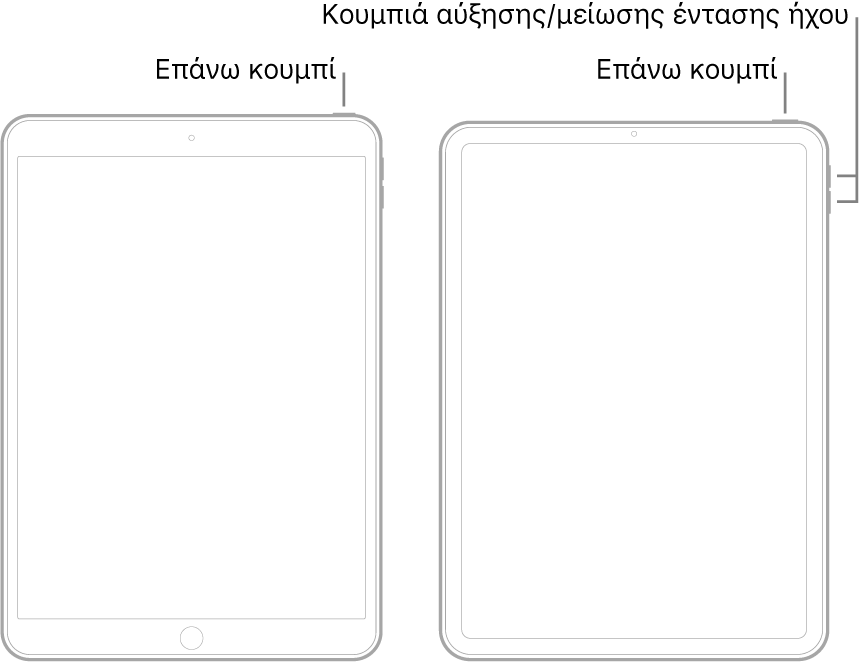 Εικόνες δύο τύπων μοντέλων iPad με τις οθόνες τους στραμμένες προς τα πάνω. Η τέρμα αριστερά εικόνα δείχνει ένα μοντέλο με κουμπί Αφετηρίας στο κάτω μέρος της συσκευής και ένα πάνω κουμπί στην πάνω δεξιά πλευρά της συσκευής. Η τέρμα δεξιά εικόνα δείχνει ένα μοντέλο χωρίς κουμπί Αφετηρίας. Σε αυτήν τη συσκευή, τα κουμπιά αύξησης και μείωσης της έντασης ήχου βρίσκονται στην δεξιά πλευρά της συσκευής κοντά στο πάνω μέρος, και ένα πάνω κουμπί βρίσκεται στην πάνω δεξιά πλευρά της συσκευής.