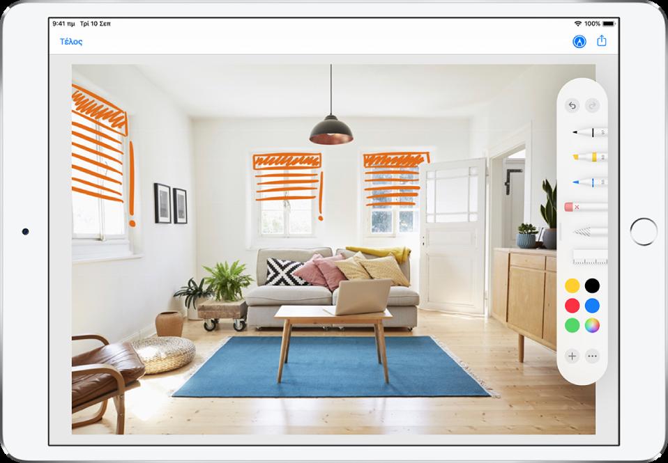 Μια φωτογραφία γεμίζει την οθόνη του iPad. Στη δεξιά πλευρά της οθόνης βρίσκεται η Παλέτα εργαλείων Σήμανσης που περιλαμβάνει τα ακόλουθα εργαλεία σήμανσης από τα αριστερά προς τα δεξιά: στιλό, μαρκαδόρος, μολύβι, γόμα, λάσο, χάρακας, επιλογέας χρωμάτων και το κουμπί Προσθήκης και Περισσότερων επιλογών. Το κουμπί «Τέλος» βρίσκεται πάνω αριστερά. Τα κουμπιά «Σήμανση» και «Κοινή χρήση» βρίσκονται στην πάνω δεξιά γωνία.