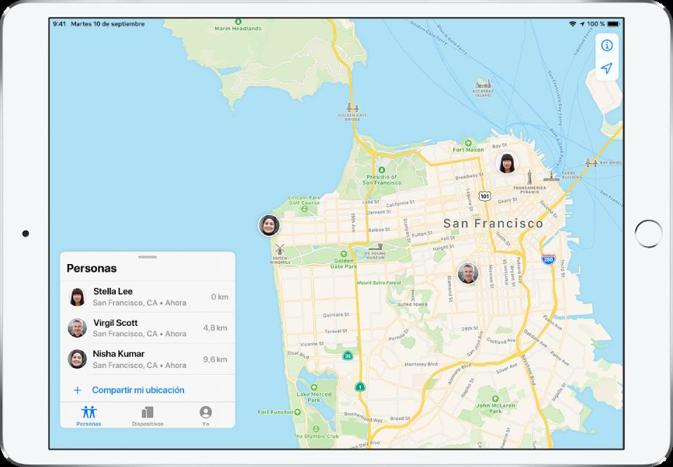 Hay tres amigos en la lista Personas: Estrella López, Vicente Sarrió y Nerea Colomer. Sus ubicaciones se muestran en un mapa de San Francisco.