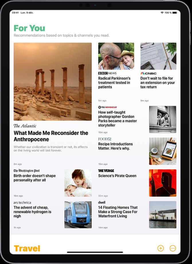 L'écran Today. En haut se trouve la section ForYou. Neuf articles sont affichés en dessous, chacun présentant le nom de la publication, un titre et une image. Une autre section est disponible en bas. Les boutons Add et More sont affichés en bas à droite.