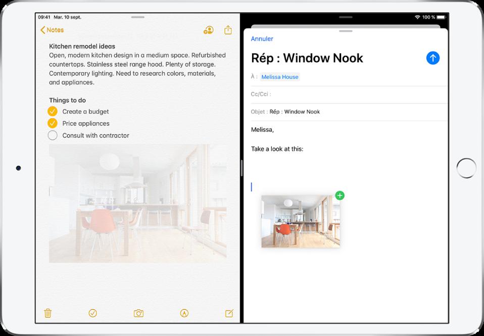 Une présentation SplitView avec Notes ouvert à gauche et un e-mail ouvert à droite. Une photo de Notes est glissée dans l'e-mail.