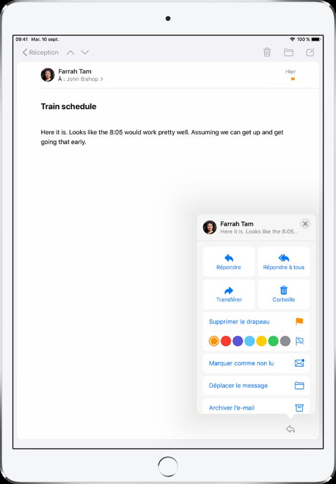 E-mail présentant des options de réponse en bas à droite. Sous ces options se trouvent les choix de couleur pour les drapeaux.