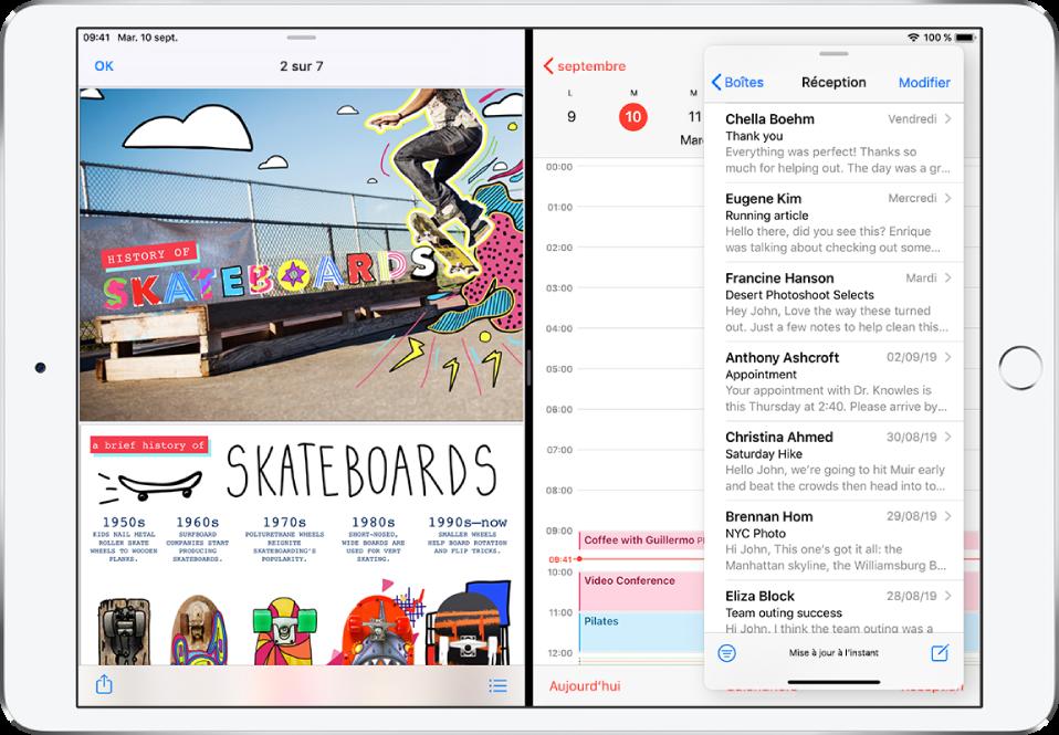Une app graphique est ouverte sur le côté gauche de l'écran, Calendrier est ouvert sur la droite et Mail est ouvert dans une fenêtre SlideOver qui couvre partiellement Calendrier.