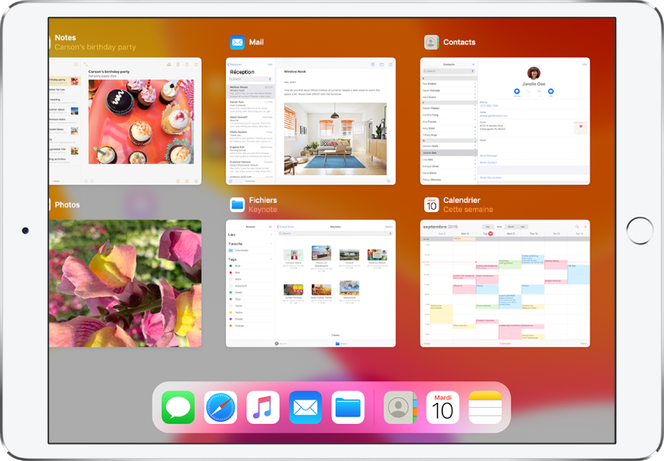 L'écran du sélecteur d'app avec plusieurs apps affichées.