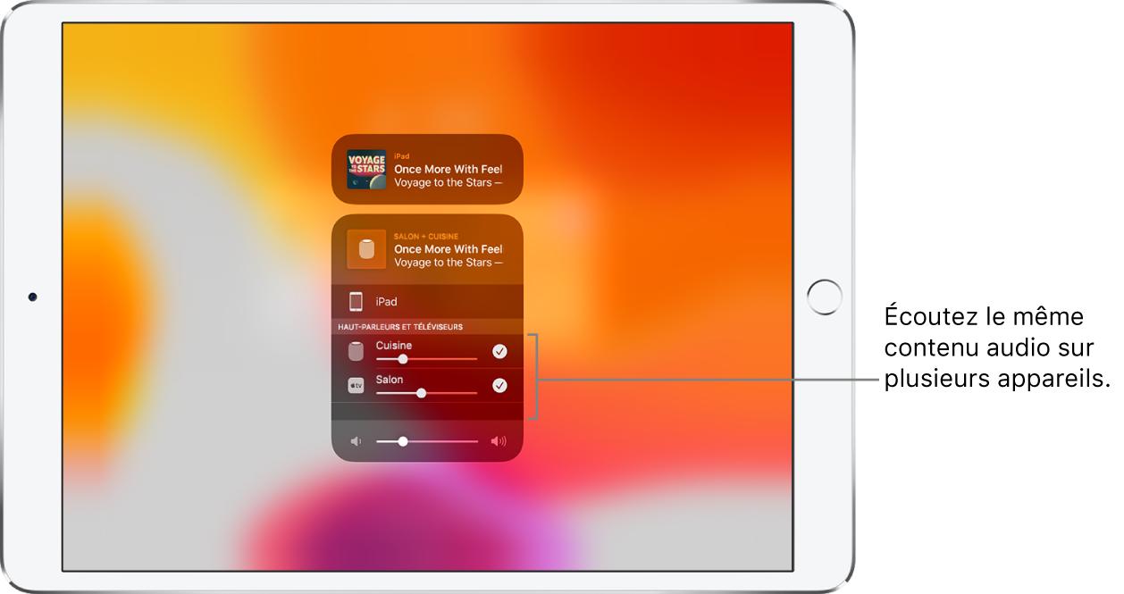 L'écran de l'iPad affichant le HomePod et l'AppleTV comme destinations audio sélectionnées.
