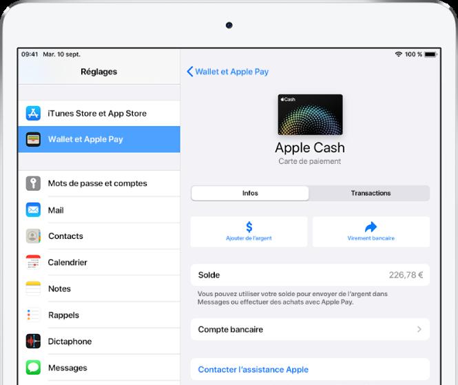L'écran des détails de la carte AppleCard, montrant le solde en haut à droite.