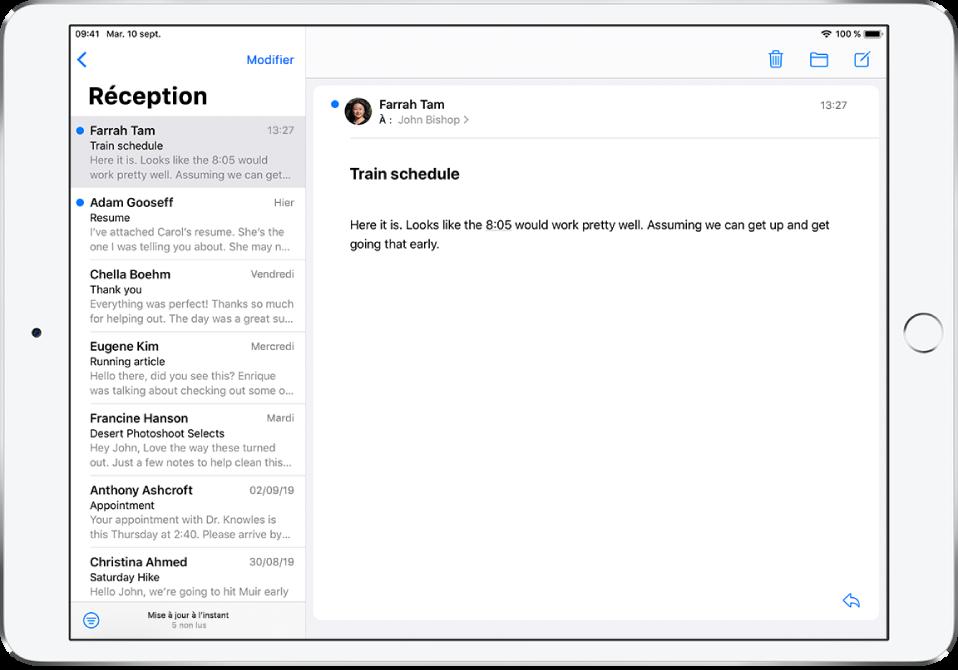 Aperçu d'un e-mail dans la boîte de réception, montrant le nom de l'expéditeur, le jour d'envoi, l'objet et les deux premières lignes de l'e-mail.