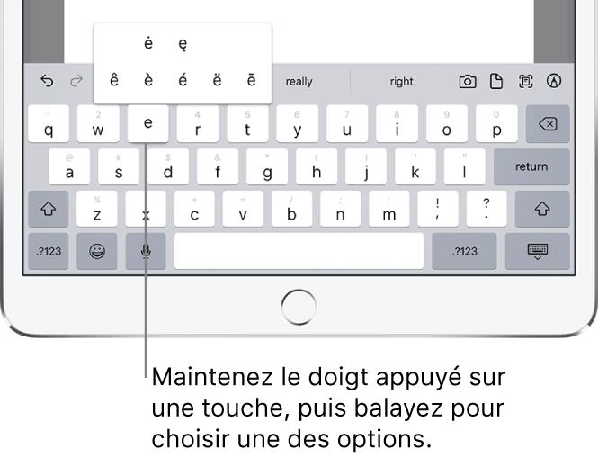 Un écran affichant les caractères secondaires pour la touche «e».
