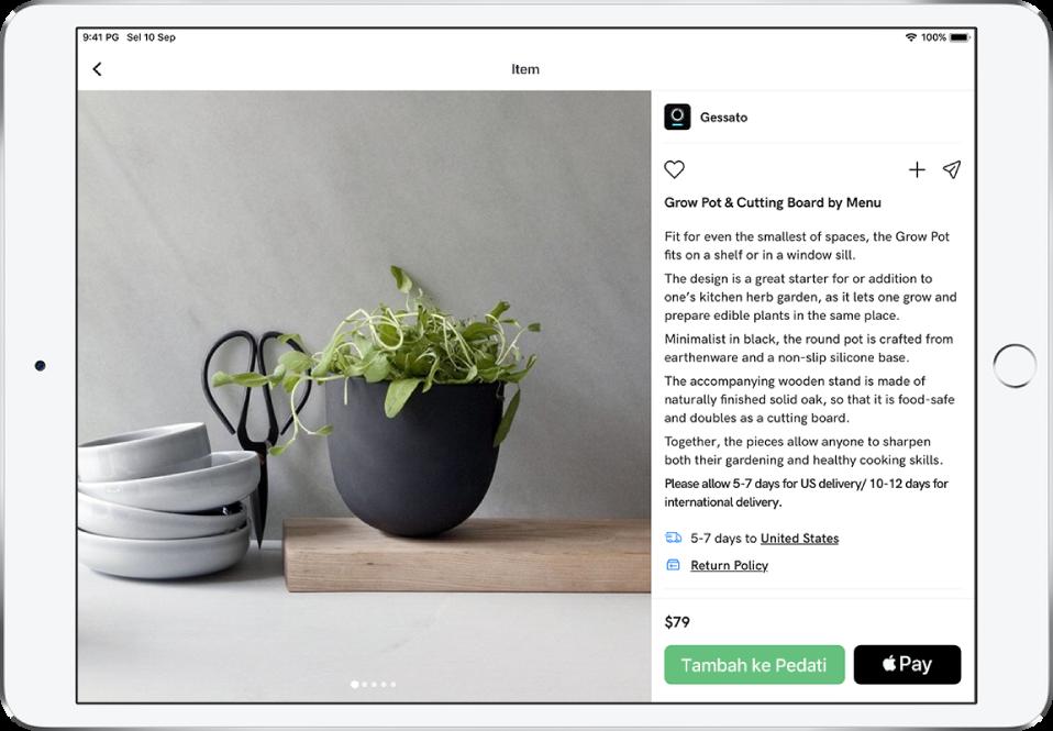 App menunjukkan halaman produk dengan butang Beli dengan Apple Pay.