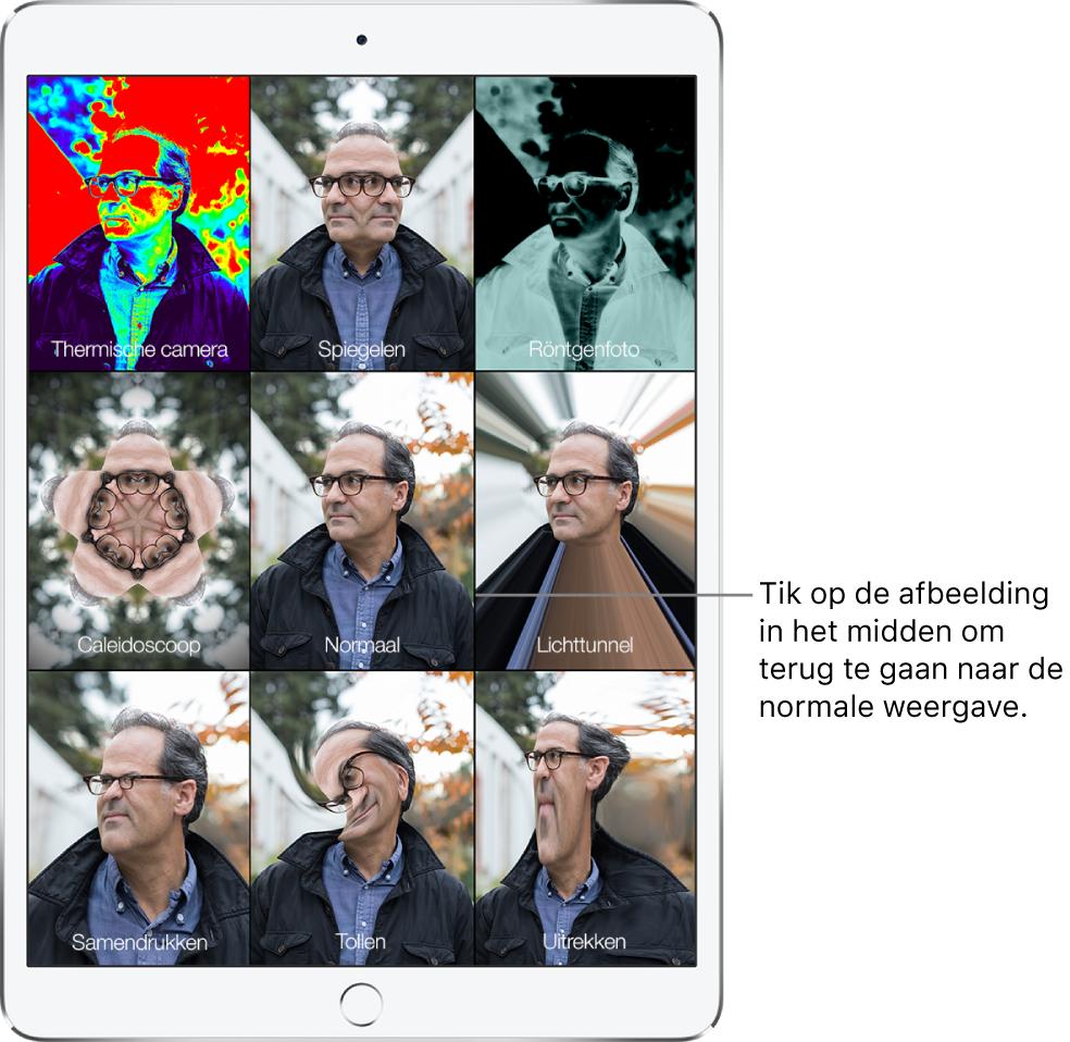 Een Photo Booth-scherm met negen verschillende varianten van het gezicht van een man op afzonderlijke tegels. In de bovenste rij zie je van links naar rechts de effecten 'Thermische camera', 'Spiegelen' en 'Röntgenfoto'. In de middelste rij zie je van links naar rechts de effecten 'Caleidoscoop', 'Normaal' en 'Lichttunnel'. In de onderste rij zie je van links naar rechts de effecten 'Samendrukken', 'Tollen' en 'Uitgerekt'.