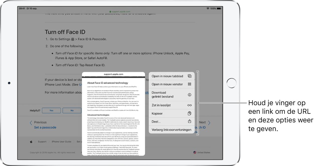 Een overlay met het adres van de koppeling en een lijst met mogelijke taken: 'Open', 'Open in nieuw tabblad', 'Open in Split View', 'Zet in leeslijst', 'Kopieer' of 'Deel'.