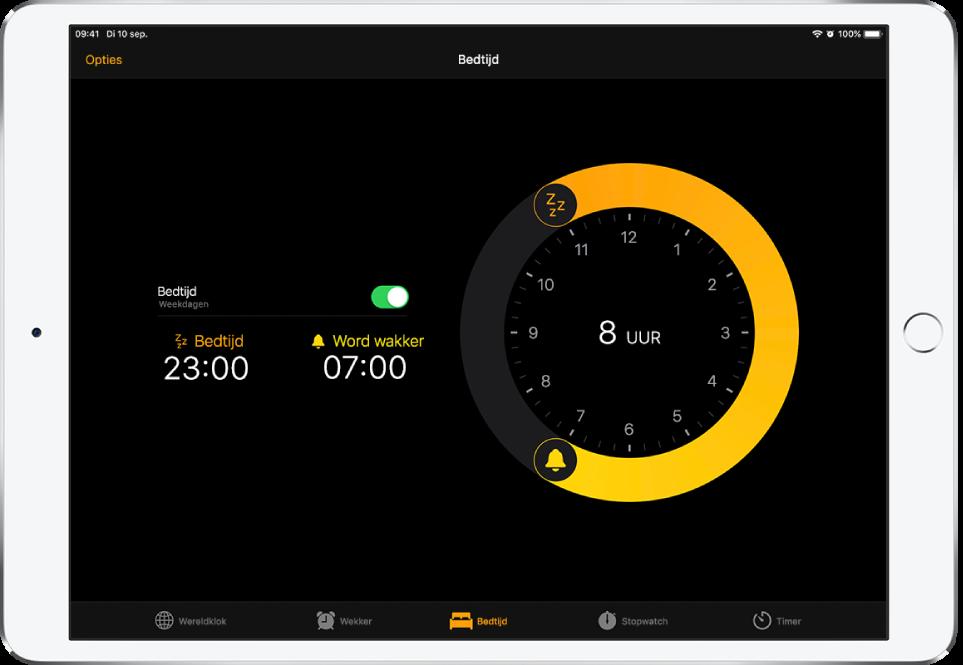 Het scherm 'Bedtijd' met een bedtijd van 23.00uur en een wektijd van 7.00uur, en linksbovenin de knop 'Opties'.