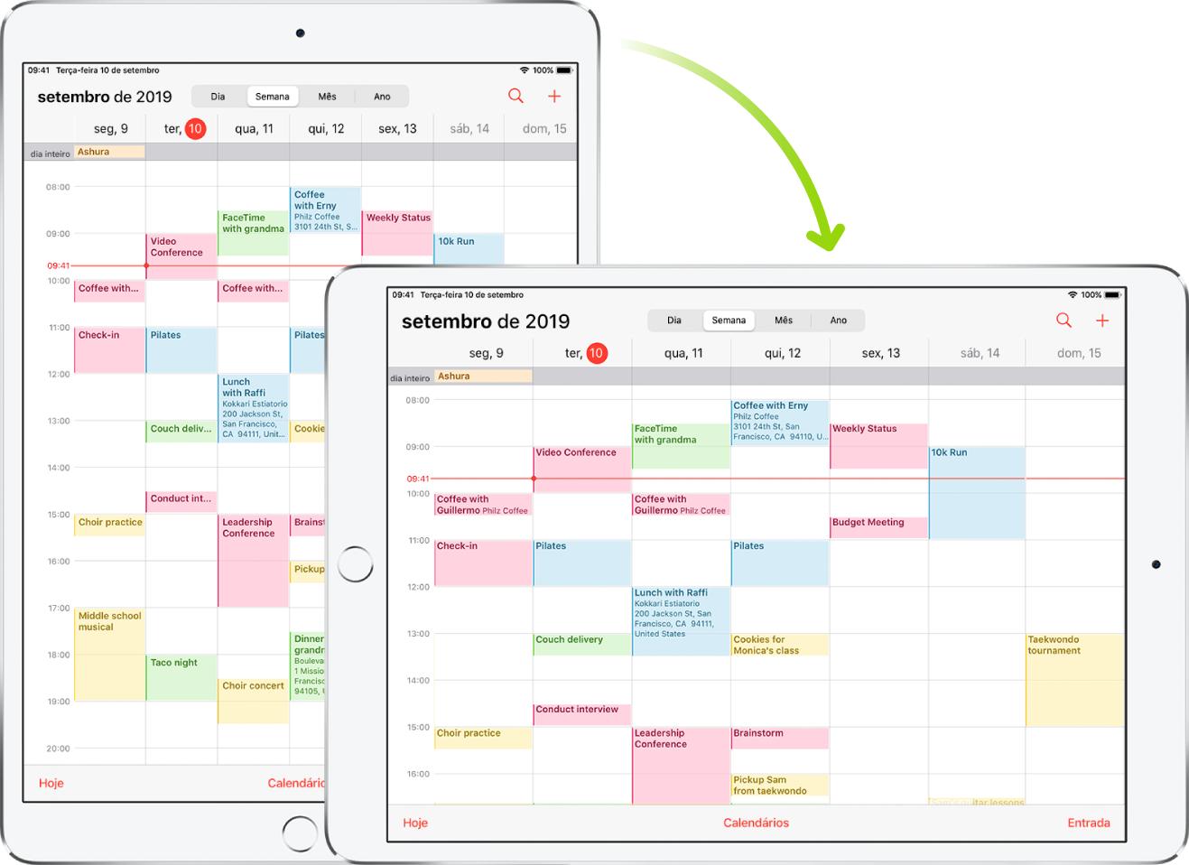 Em segundo plano, um iPad mostra uma tela do Calendário na orientação vertical; em primeiro plano, o iPad encontra-se girado e mostra a tela do Calendário na orientação horizontal.