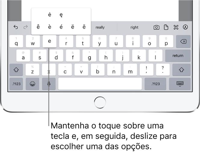 """Tela mostrando caracteres alternativos da tecla """"e""""."""