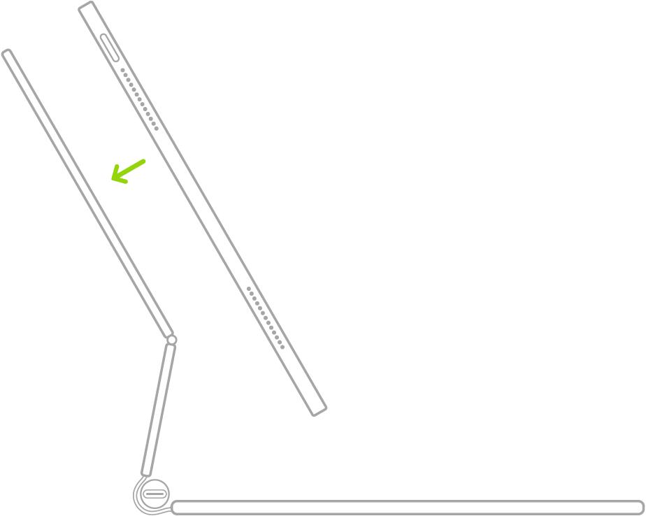 ภาพประกอบของ Magic Keyboard สำหรับ iPad ที่เปิดอยู่และพับไปด้านหลัง โดยที่ iPad ถูกจัดให้อยู่เหนือแป้นพิมพ์เพื่อแนบติดกับ Magic Keyboard สำหรับ iPad