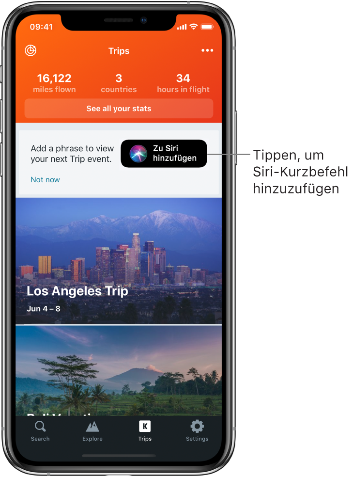 """Der Bildschirm einer Reise-App. Die Taste """"Zu Siri hinzufügen"""" befindet sich rechts neben dem Text, der """"Add a phrase to view your next trip event"""" lautet."""