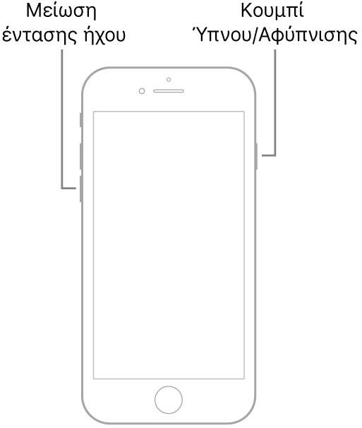 Εικόνα του iPhone 7 με την οθόνη στραμμένη προς τα πάνω. Το κουμπί μείωσης της έντασης ήχου βρίσκεται στην αριστερή πλευρά της συσκευής και το κουμπί Ύπνου/Αφύπνισης βρίσκεται στη δεξιά πλευρά.