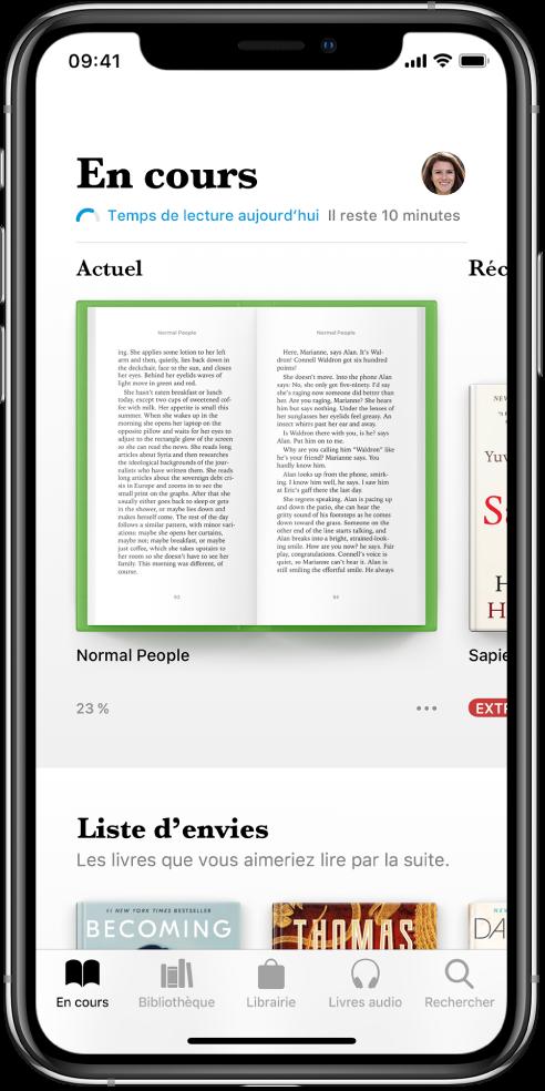 L'écran «En cours» dans l'app Livres. En bas de l'écran se trouvent, de gauche à droite, les onglets En cours, Bibliothèque, Librairie, Livres audio et Rechercher.