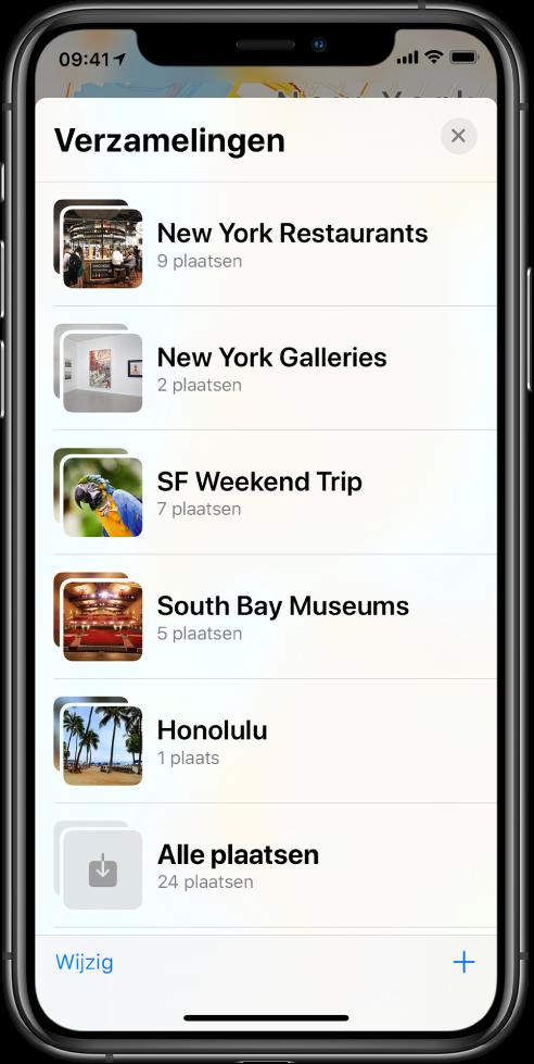 Een lijst met verzamelingen in de Kaarten-app. Van boven naar beneden staan de verzamelingen 'Restaurants in New York', 'Galerieën in New York', 'Weekend in San Francisco', 'Museums in de South Bay', 'Honolulu' en 'Alle plaatsen'. Linksonderin staat de knop 'Wijzig' en rechtsonderin staat de toevoegknop.