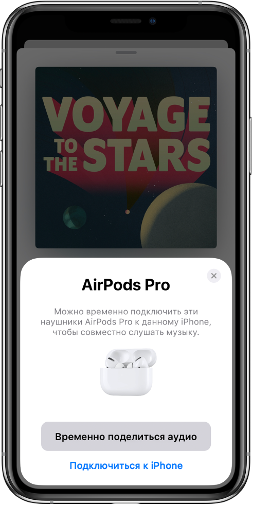 Экран iPhone с изображением AirPods в открытом футляре для зарядки. У нижнего края экрана— кнопка «Временно поделиться аудио».