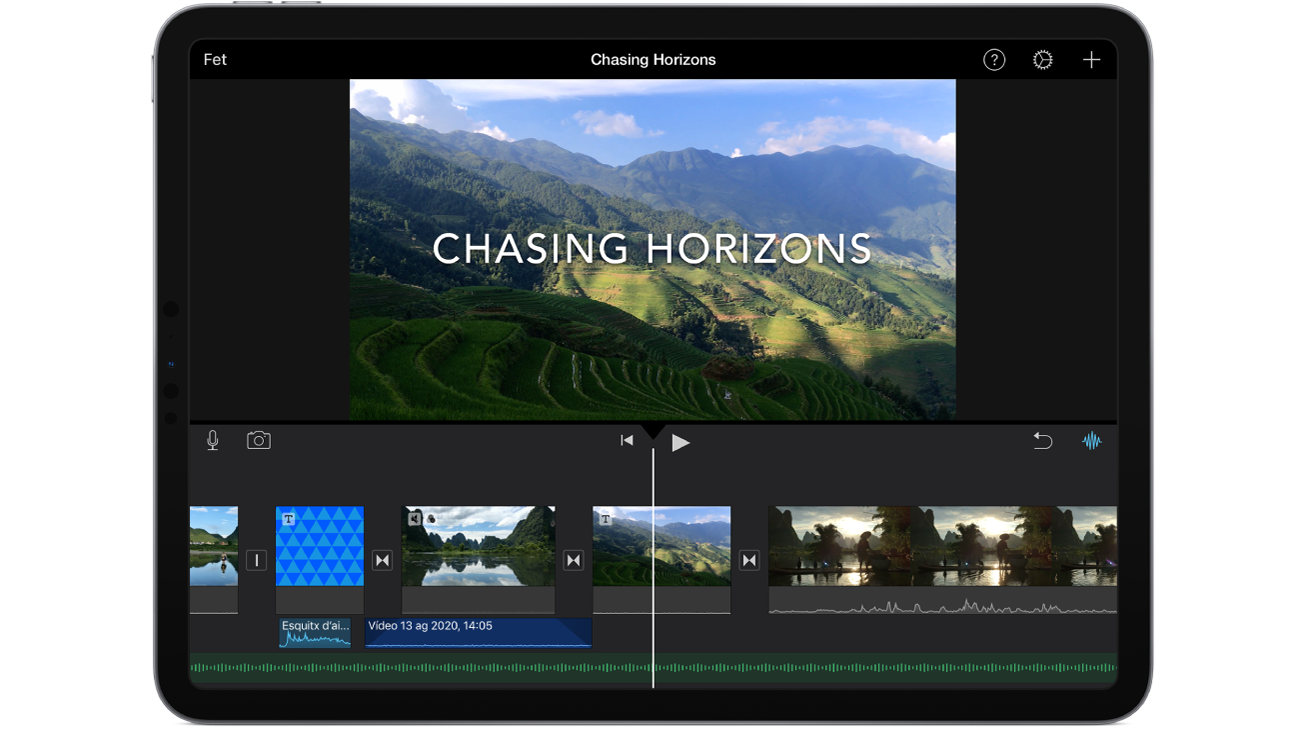 Un projecte de pel·lícula a l'iMovie d'un iPad.