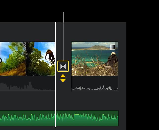 Fletxes dobles grogues sota una transició a la línia de temps.