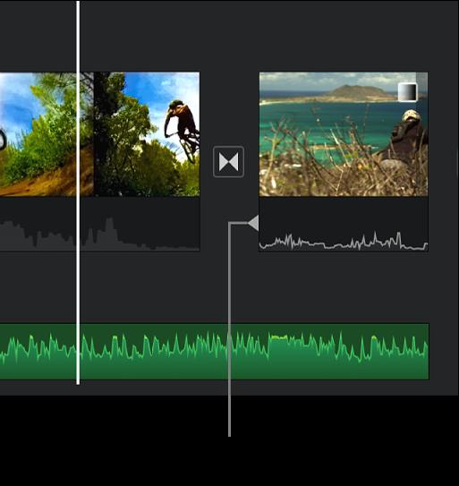 Un indicador d'edició de divisió al fragment d'àudio d'una transició a la línia de temps.