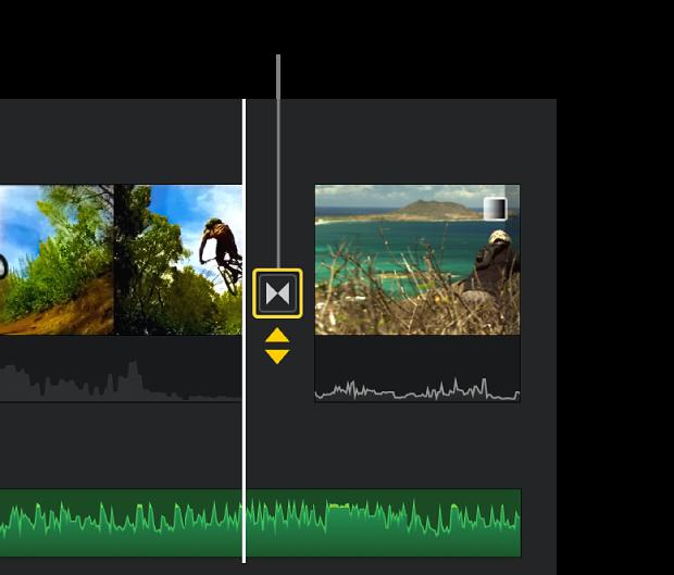 Gule dobbeltpile vises under en overgang på tidslinjen.