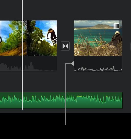 En indikator for opdelt redigering, der vises i lyddelen af en overgang på tidslinjen.
