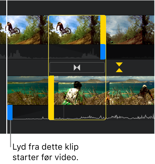 Præcisionsværktøjet, der viser en opdelt redigering på tidslinjen, hvor det andet klips lyd begynder inden dets video.