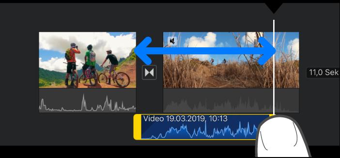 Ein Audioclip, der in der Projekt-Timeline gekürzt wird