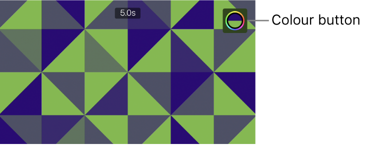 The viewer showing a green-and-blue pattern background and the Colour button in the upper right.