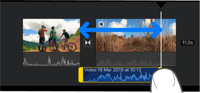 An audio clip being trimmed in the project timeline.