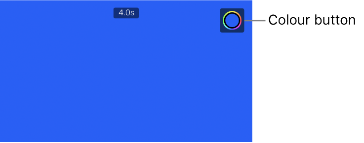 The viewer showing a solid blue background and the Colour button in the upper right.
