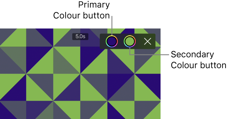 The viewer showing a green-and-blue pattern background with primary and secondary Colour buttons in the upper right.