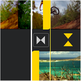 The precision editor open in the timeline, showing dimmed portions of clips before and after a transition.