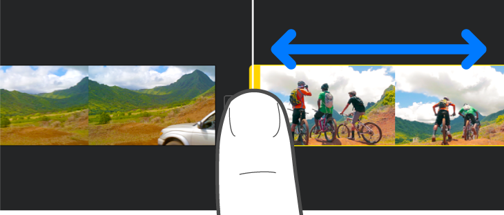 A clip being trimmed in the project timeline.